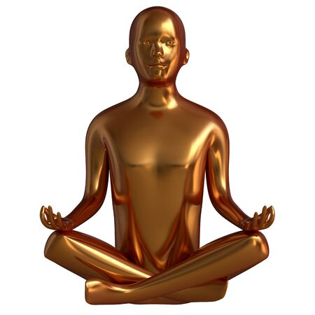 Luxury gold man statue yoga lotus pose stylized solid figure. Human mental recreation person character metallic. Peaceful calm spirit nirvana harmony symbol. 3d rendering Stok Fotoğraf