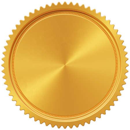 Gold medal award coin circle blank. Round golden badge winner sign. 3d illustration Stockfoto