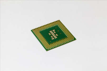 cpu, processor seen from the pin side on white background.