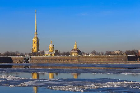 historical reflections: Peter and Paul fortress in Saint-Petersburg, Russia Stock Photo