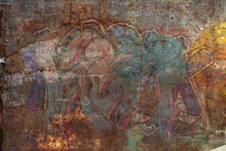 グランジの錆や落書きの背景