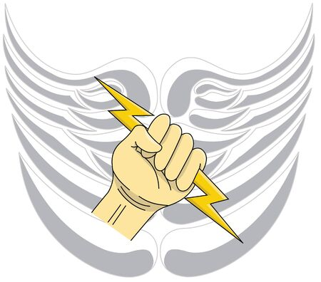 Angel winged shield with hand and lightning bolt