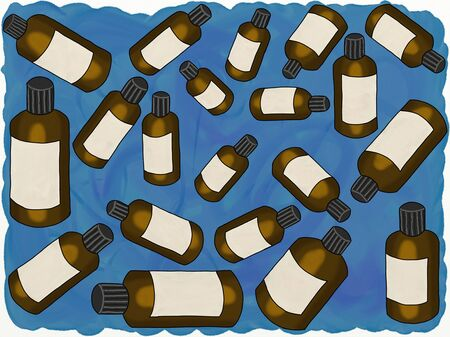 Painting of essential oil bottles