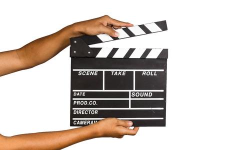 camara de cine: Pizarra de la película con el fondo aislado