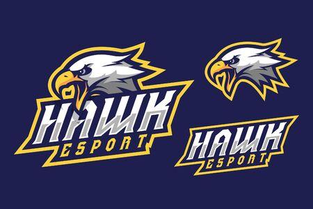 Hawk esport mascot logo design Logo