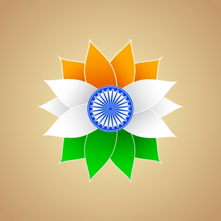 bharat: Indian Flag color Flower Illustration