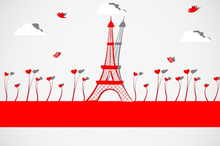 eiffel tower: Torre Eiffel con Planta Amor Vectores