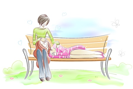 Couple sitting on Park Bench Illustration