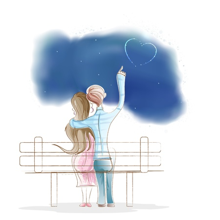 Boy and Girl sitting on park Bench Vector