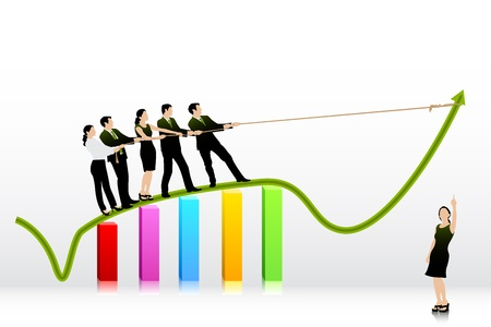 upward graph: Business People pulling Arrow on Bar Graph