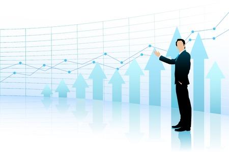 Business Man showing Bar Graph Vector