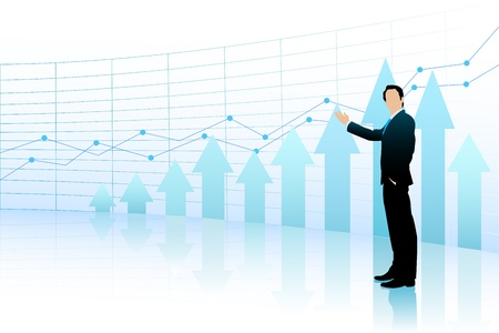 bar graph: Business Man showing Bar Graph