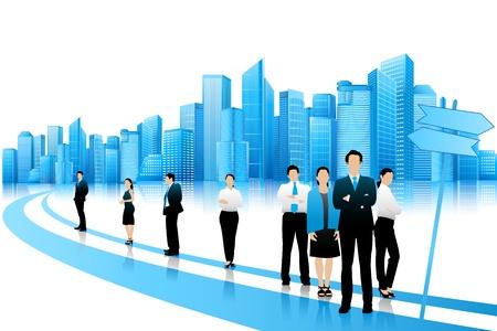 仕事: ビジネス人々 は道路上に立っています。