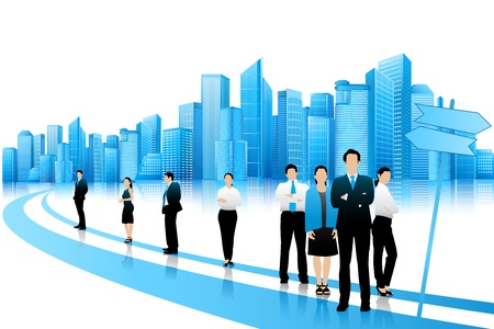 young professional: La gente de negocios de pie en el camino