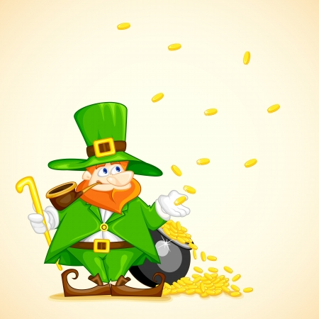 Laprachun with Pot of Gold Coin Vector