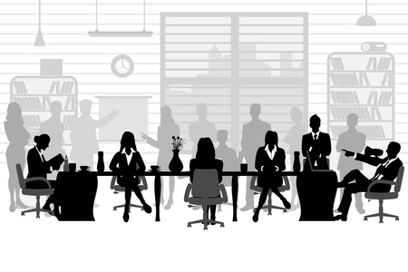 sitting at table: business people during a meeting Illustration