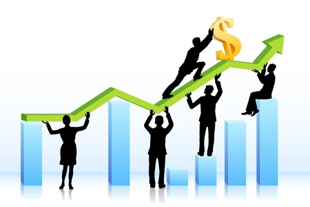 Business people pushing Dollar on Graph Vector