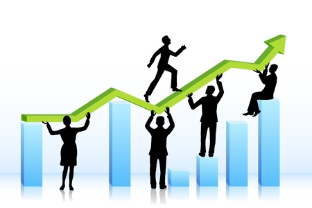 business people walking on bar graph