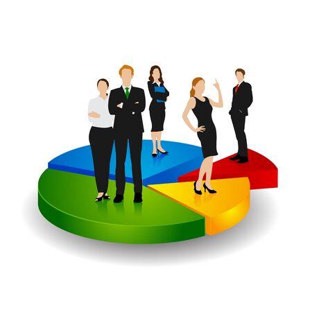 profit and loss: Business People in piedi su grafico a torta Vettoriali