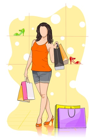 clothing stores: Lady shopping in Shoe store Illustration