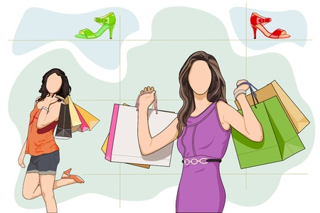 Lady shopping in Shoe store Stock Vector - 18627776