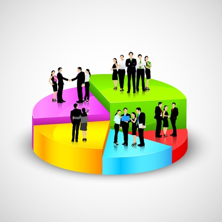 Business People standing over Pie Chart Illustration