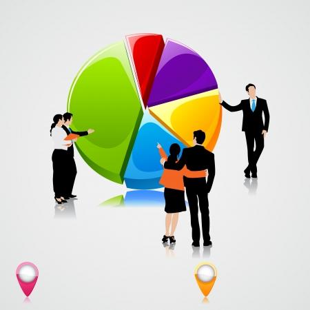 perdidas y ganancias: La gente de negocios de pie encima de gráfico circular Vectores