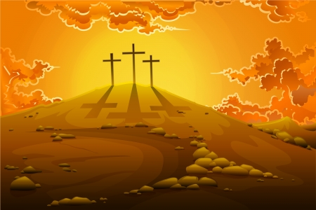 viernes santo: Calvario Crucifixi�n Vectores
