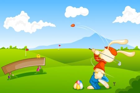 Conejito jugar golf con el huevo de Pascua Foto de archivo - 18627838