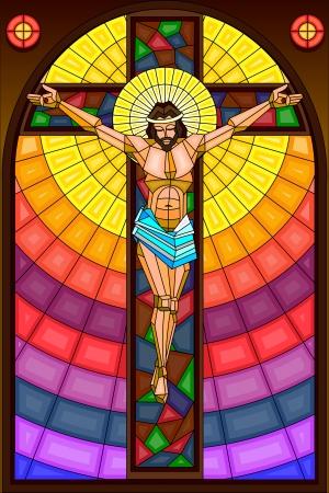 viernes santo: Pintura Vitral de la crucifixi�n