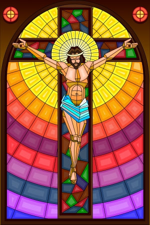 stained: Stained Glass Painting of Crucifixion