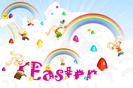 Easter Bunny jumping on cloud Vector