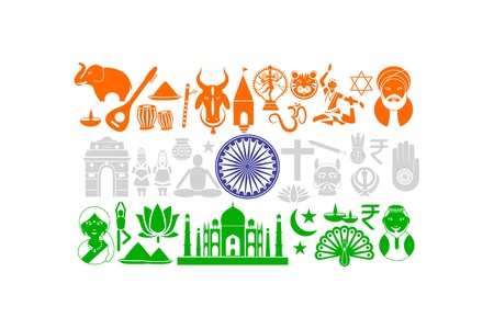 Indian Flag with Cultural Object Illustration