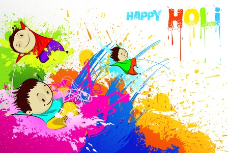 Kids enjoying Holi Vector
