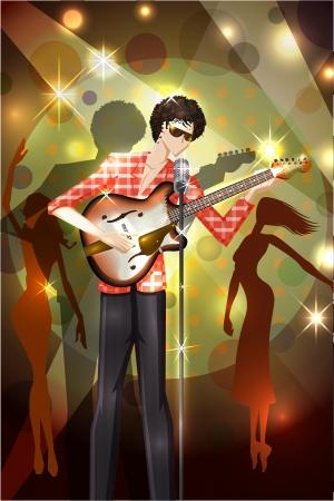 lad: Hombre que toca la guitarra Vectores