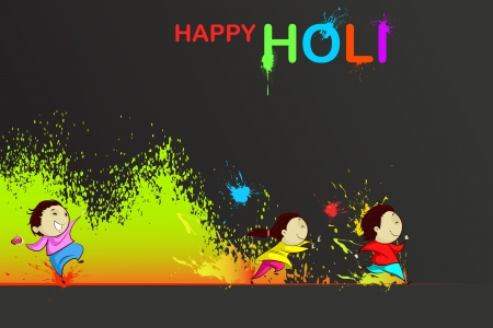 Kids enjoying Holi Stock Vector - 18955620