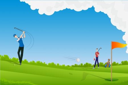 golfer swinging: Man playing Golf Illustration