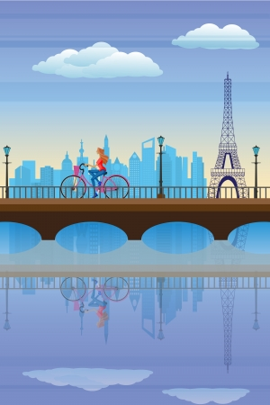 Lady cycling in Paris Stock Vector - 18955564