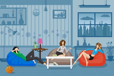 Women Chatting and Relaxing in Couch Vector