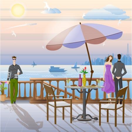 mujer mirando el horizonte: Pareja Romántica Vectores
