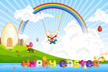 Easter Bunny jumping on cloud photo