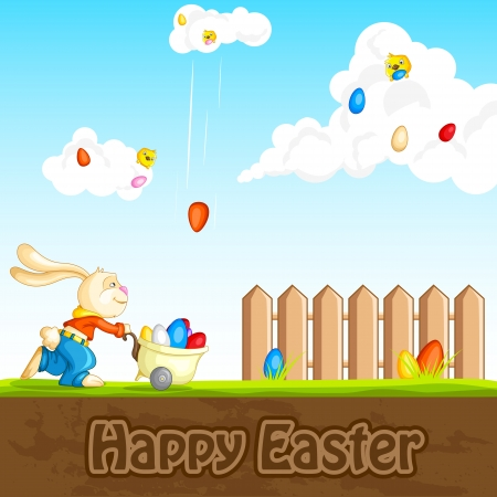 Bunny catching Easter Egg Vector
