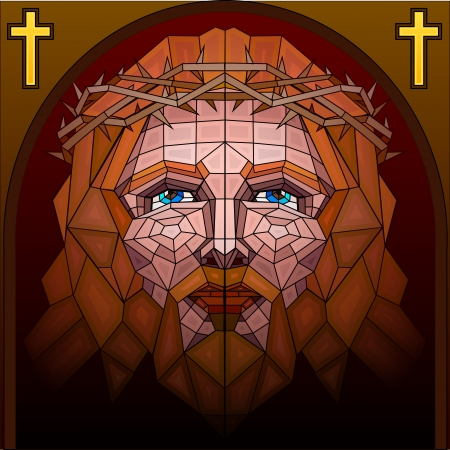 stained: Stained Glass Painting of Jesus Christ