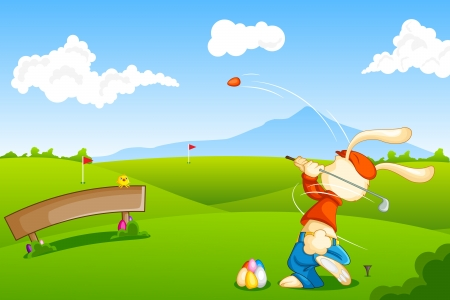 Bunny playing Golf with Easter Egg Vector