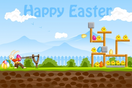 Bunny playing with Easter Egg Vector