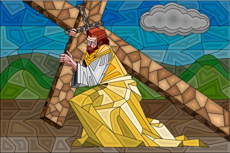 Stained Glass Painting of Crucifixion Vector
