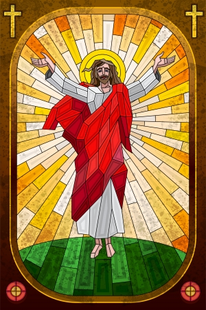 jesus cross: Stained Glass Painting of Jesus Christ