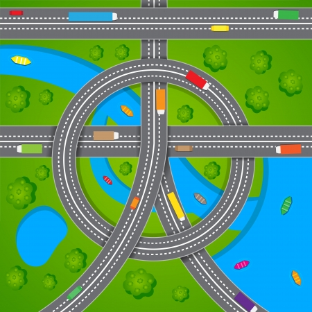 roadway: Aerial View of Road Traffic Illustration