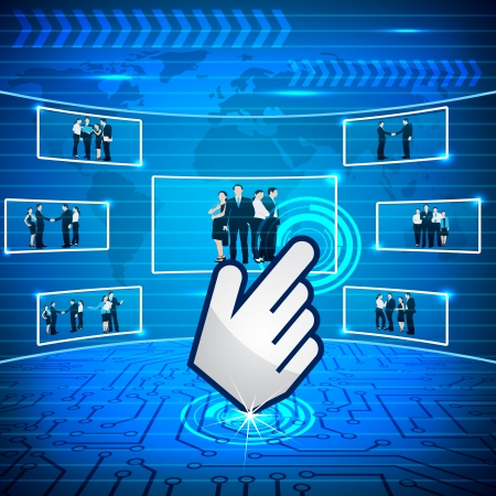 cursor hand: Hand Cursor selecting Business Team Illustration