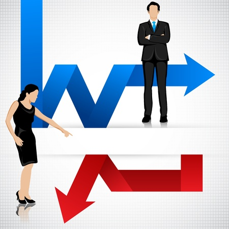 perdidas y ganancias: Hombres de negocios con pérdidas y ganancias Flecha